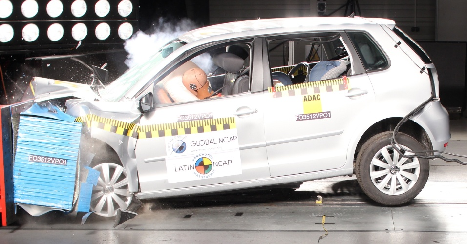 Crash test frontal com acionamento do air bag